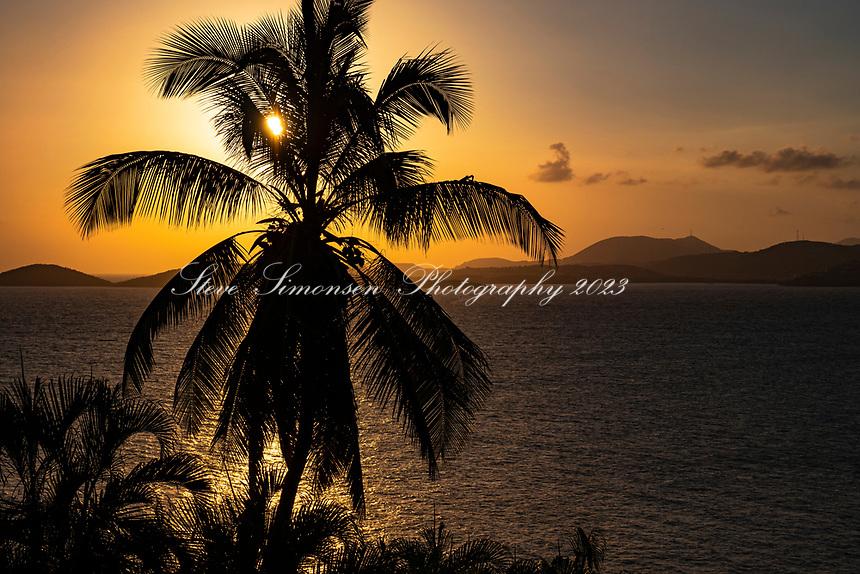 Golden Sunset<br /> looking towards St. Thomas from St. John<br /> US Virgin islands