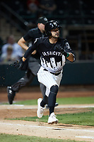 Brandon Bossard (2) of the Winston-Salem Dash hustles down the first base line against the Asheville Tourists at Truist Stadium on September 17, 2021 in Winston-Salem, North Carolina. (Brian Westerholt/Four Seam Images)