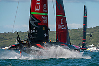 13th March 2021; Waitemata Harbour, Auckland, New Zealand;  Emirates Team New Zealand and  Luna Rossa Prada Pirelli Team enter the start box for race five on day three of the America's Cup presented by Prada.