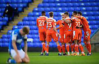 Blackpool's Jerry Yates (number nine) celebrates scoring the opening goal with team-mates<br /> <br /> Photographer Chris Vaughan/CameraSport<br /> <br /> The EFL Sky Bet League One - Peterborough United v Blackpool - Saturday 21st November 2020 - London Road Stadium - Peterborough<br /> <br /> World Copyright © 2020 CameraSport. All rights reserved. 43 Linden Ave. Countesthorpe. Leicester. England. LE8 5PG - Tel: +44 (0) 116 277 4147 - admin@camerasport.com - www.camerasport.com