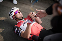 John DEGENKOLB (DEU/Trek-Segafredo) finishes a strong 2nd and crashes to the ground (from the effort) after finishing <br /> <br /> 81st Gent-Wevelgem 'in Flanders Fields' 2019<br /> One day race (1.UWT) from Deinze to Wevelgem (BEL/251km)<br /> <br /> ©kramon
