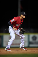 Billings Mustangs third baseman Victor Ruiz (26) during a Pioneer League game against the Grand Junction Rockies at Dehler Park on August 15, 2019 in Billings, Montana. Billings defeated Grand Junction 11-2. (Zachary Lucy/Four Seam Images)