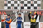 Scott Dixon, Chip Ganassi Racing Honda, Takuma Sato, Rahal Letterman Lanigan Racing Honda, Sebastien Bourdais, Dale Coyne Racing with Vasser-Sullivan Honda, podium