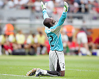 Ghana goalkeeper Richard Kingson celebrates the victory. Ghana defeated the USA 2-1 in their FIFA World Cup Group E match at Franken-Stadion, Nuremberg, Germany, June 22, 2006. Ghana advances to round of 16 and the USA is out of the tournament.