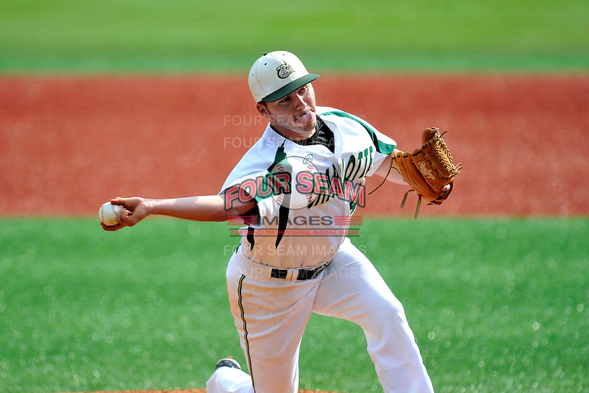 Austin Wynn (45) of the Charlotte 49ers delivers a pitch in Game 1 of a doubleheader against the Fairfield Stags on Saturday, March 12, 2016, at Hayes Stadium in Charlotte, North Carolina. (Tom Priddy/Four Seam Images)