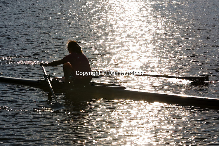 single skull rowing on a river