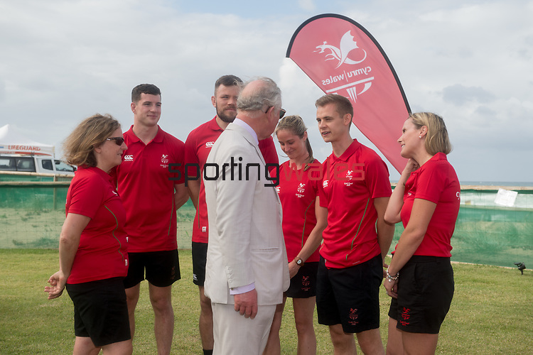 HRH Prince Charles meets officials and athletes of Team Wales (R-L) Cathy Williams Games Manager, James Ledger Athletics, Sally Peake Pole Vault, Adam Thomas Rugby 7's, Owen Jenkins Rugby 7's & Nicola Phillips, Team Wales Chef de Mission <br /> <br /> *This image must be credited to Ian Cook Sportingwales and can only be used in conjunction with this event only*<br /> <br /> 21st Commonwealth Games  -  Day 1- 05\04\2018 - Kurrawa Surf Club - Gold Coast City - Australia