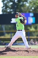 Mitch Aker (3) of the Hillsboro Hops pitches against the Spokane Indians at Ron Tonkin Field on July 23, 2017 in Hillsboro, Oregon. Spokane defeated Hillsboro, 5-3. (Larry Goren/Four Seam Images)