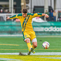 15 November 2015: University of Vermont Catamount Defender Arthur Bacquet, a Sophomore from Bruxelles, Belgium, in action against the Binghamton University Bearcats at Virtue Field in Burlington, Vermont. The Catamounts shut out the Bearcats 1-0 in the America East Championship Game. Mandatory Credit: Ed Wolfstein Photo *** RAW (NEF) Image File Available ***