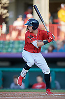 Erie SeaWolves Kody Clemens (8) at bat during an Eastern League game against the Richmond Flying Squirrels on August 28, 2019 at UPMC Park in Erie, Pennsylvania.  Richmond defeated Erie 6-4 in the first game of a doubleheader.  (Mike Janes/Four Seam Images)