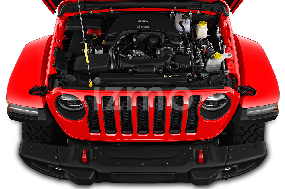 Car stock 2020 Jeep Gladiator Rubicon 4 Door Pick Up engine high angle detail view