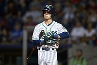 Drew Waters (11) of the Gwinnett Stripers prepares to hit during the game against the Scranton/Wilkes-Barre RailRiders at Coolray Field on August 17, 2019 in Lawrenceville, Georgia. The Stripers defeated the RailRiders 8-7 in eleven innings. (Brian Westerholt/Four Seam Images)