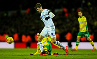 Leeds United's Patrick Bamford is tackled by Norwich City's Mario Vrancic<br /> <br /> Photographer Alex Dodd/CameraSport<br /> <br /> The EFL Sky Bet Championship - Leeds United v Norwich City - Saturday 2nd February 2019 - Elland Road - Leeds<br /> <br /> World Copyright © 2019 CameraSport. All rights reserved. 43 Linden Ave. Countesthorpe. Leicester. England. LE8 5PG - Tel: +44 (0) 116 277 4147 - admin@camerasport.com - www.camerasport.com