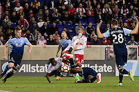 Harrison, NJ - Wednesday Feb. 22, 2017: Bradley Wright-Phillips, Kendall Waston during a Scotiabank CONCACAF Champions League quarterfinal match between the New York Red Bulls and the Vancouver Whitecaps FC at Red Bull Arena.