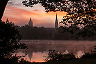 October 13, 2021; Light fog moves in over St. Mary's Lake and campus at sunrise. (Photo by Barbara Johnston/University of Notre Dame)