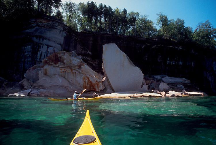 Sea kayakers, Pictured Rocks National Seashore, Lake Michigan, Upper Peninsula, Michigan, Great Lakes,