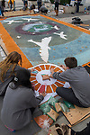 The Peace Sawdust Carpet Project at Visitors area, United Nations.
