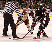 Chris Aughe, Pat Mullane (BC - 11), Garrett Vermeersch (NU - 9) - The Boston College Eagles defeated the Northeastern University Huskies 6-3 for their fourth consecutive Beanpot championship on Monday, February 11, 2013, at TD Garden in Boston, Massachusetts.