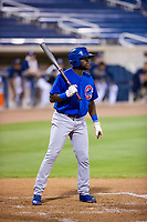 AZL Cubs third baseman Delvin Zinn (21) at bat against the AZL Brewers on August 24, 2017 at Maryvale Baseball Park in Phoenix, Arizona. AZL Cubs defeated the AZL Brewers 9-1. (Zachary Lucy/Four Seam Images)