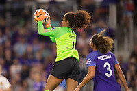 Orlando, FL - Saturday March 24, 2018: Utah Royals goalkeeper Abby Smith (1) grabs a cross during a regular season National Women's Soccer League (NWSL) match between the Orlando Pride and the Utah Royals FC at Orlando City Stadium. The game ended in a 1-1 draw.