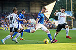 St Johnstone v Lask…26.08.21  McDiarmid Park    Europa Conference League Qualifier<br />James Brown is challenged by Peter Michorl<br />Picture by Graeme Hart.<br />Copyright Perthshire Picture Agency<br />Tel: 01738 623350  Mobile: 07990 594431