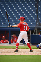 GCL Nationals center fielder Justin Connell (11) at bat during the second game of a doubleheader against the GCL Mets on July 22, 2017 at The Ballpark of the Palm Beaches in Palm Beach, Florida.  GCL Mets defeated the GCL Nationals 4-1.  (Mike Janes/Four Seam Images)