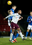 St Johnstone v Hearts…30.10.19   McDiarmid Park   SPFL<br />Loic Damour battles with David Wotherspoon and Ali Mc Cann<br />Picture by Graeme Hart.<br />Copyright Perthshire Picture Agency<br />Tel: 01738 623350  Mobile: 07990 594431