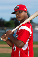 Batavia Muckdogs outfielder Roberto Reyes #4 poses for a photo during media day at Dwyer Stadium on June 14, 2012 in Batavia, New York.  (Mike Janes/Four Seam Images)