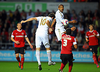 Pictured: Danny Graham (10) and Luke Moore of Swansea. Tuesday 28 August 2012<br /> Re: Capital One Cup game, Swansea City FC v Barnsley at the Liberty Stadium, south Wales.