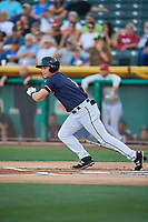 Matt Thaiss (17) of the Salt Lake Bees bats against the El Paso Chihuahuas at Smith's Ballpark on July 5, 2018 in Salt Lake City, Utah. El Paso defeated Salt Lake 3-2. (Stephen Smith/Four Seam Images)