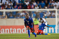 Haiti defender Judelin Aveska (8) reacts to a missed scoring opportunity. Honduras defeated Haiti 2-0 during a CONCACAF Gold Cup group B match at Red Bull Arena in Harrison, NJ, on July 8, 2013.
