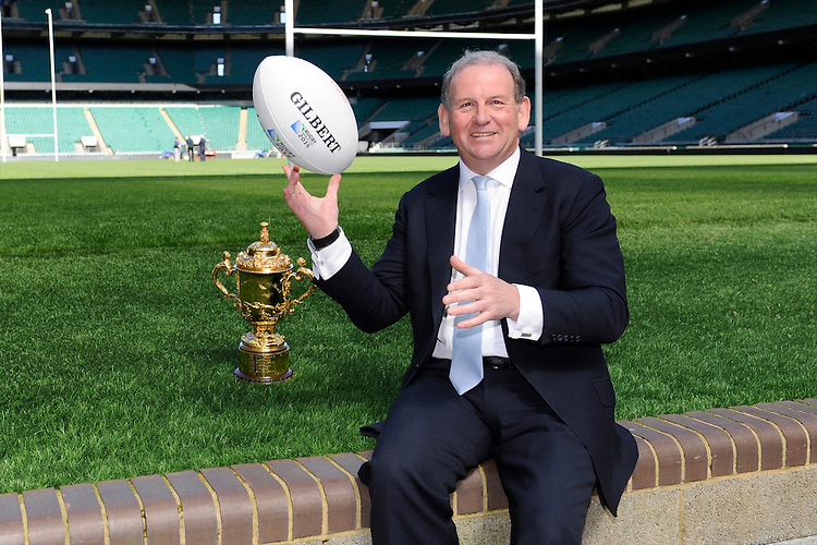 England Rugby 2015 Chairman Andy Cosslett with the Webb Ellis Trophy and Gilbert match ball during the Rugby World Cup 2015 Venues and Match Schedule Launch at Twickenham Stadium on Thursday 2nd May 2013 (Photo by Rob Munro)during the Rugby World Cup 2015 Venues and Match Schedule Launch at Twickenham Stadium on Thursday 2nd May 2013 (Photo by Rob Munro)