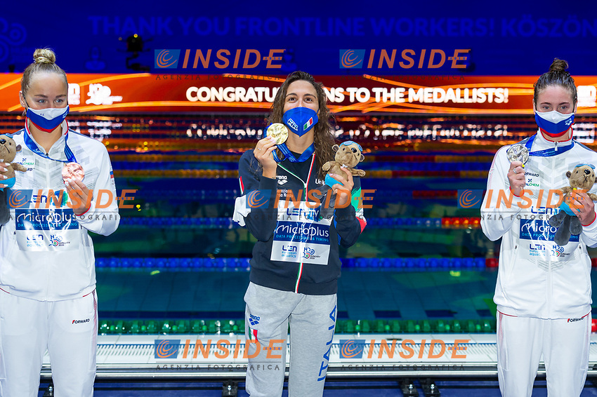 Gold Medal<br /> QUADARELLASimona ITA<br /> Silver Medal<br /> KIRPICHNIKOVAAnastasia RUS<br /> Bronze Medal<br /> EGOROVAAnna RUS<br /> 800m Freestyle Women Final<br /> Swimming<br /> Budapest  - Hungary  18/5/2021<br /> Duna Arena<br /> XXXV LEN European Aquatic Championships<br /> Photo Giorgio Perottino / Deepbluemedia / Insidefoto