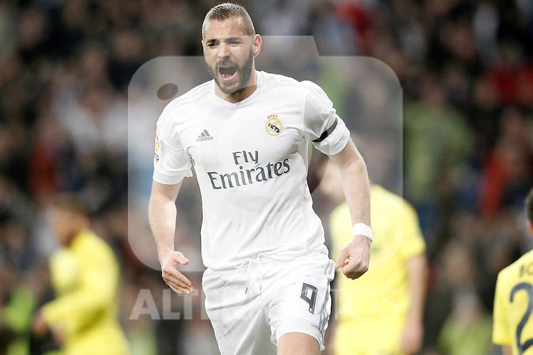 Real Madrid's Karim Benzema celebrates goal during La Liga match. April 20,2016. (ALTERPHOTOS/Acero)