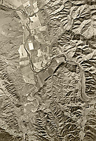 historical aerial photograph the Putah River and agricultural valley at the southern end of what is now Lake Berryessa, Napa County, California, 1948