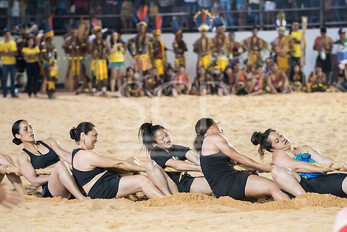 The Maori women's team strain on the rope during the tug of war at the International Indigenous Games, in the city of Palmas, Tocantins State, Brazil. Photo © Sue Cunningham, pictures@scphotographic.com 29th October 2015