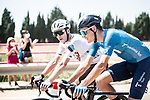 Time to chat in the peloton during Stage 5 of La Vuelta d'Espana 2021, running 184.4km from Tarancón to Albacete, Spain. 18th August 2021.    <br /> Picture: Charly Lopez/Unipublic   Cyclefile<br /> <br /> All photos usage must carry mandatory copyright credit (© Cyclefile   Unipublic/Charly Lopez)