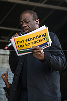 """Weyman Bennett (Unite Against Fascism, UAF joint secretary).<br /> <br /> London, 22/03/2014. """"Stand Up To Racism & fascism - No to Scapegoating Immigrants, No to Islamophobia, Yes to Diversity"""", national demo marking UN Anti-Racism Day organised by TUC (Trade Union Congress) and UAF (Unite Against Fascism).<br /> <br /> For more information please click here: http://www.standuptoracism.org.uk/"""