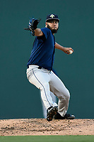 Starting pitcher Jose Carlos Medina (35) of the Columbia Fireflies delivers a pitch in a game against the Greenville Drive on Tuesday, August 22, 2017, at Fluor Field at the West End in Greenville, South Carolina. Columbia won, 14-7. (Tom Priddy/Four Seam Images)