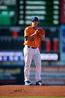 St. Lucie Mets starting pitcher Anthony Kay (19) gets ready to deliver a pitch during a game against the Daytona Tortugas on August 3, 2018 at First Data Field in Port St. Lucie, Florida.  Daytona defeated St. Lucie 3-2.  (Mike Janes/Four Seam Images)
