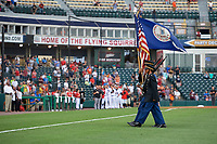 Flag presentation for the national anthem before a Richmond Flying Squirrels Eastern League game against the Binghamton Rumble Ponies on May 29, 2019 at The Diamond in Richmond, Virginia.  Binghamton defeated Richmond 9-5 in ten innings.  (Mike Janes/Four Seam Images)