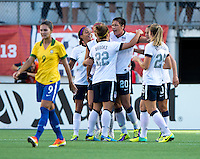 Abby Wambach (20) of the USWNT celebrates her goal during an international friendly at the Florida Citrus Bowl in Orlando, FL.  The USWNT defeated Brazil, 4-1.