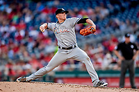 26 September 2018: Miami Marlins pitcher Brett Graves on the mound in the 5th inning against the Washington Nationals at Nationals Park in Washington, DC. The Nationals defeated the visiting Marlins 9-3, closing out Washington's 2018 home season. Mandatory Credit: Ed Wolfstein Photo *** RAW (NEF) Image File Available ***