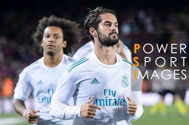Isco Alarcon of Real Madrid warming up during the Supercopa de Espana Final 1st Leg match between FC Barcelona and Real Madrid at Camp Nou on August 13, 2017 in Barcelona, Spain. Photo by Marcio Rodrigo Machado / Power Sport Images