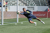 Carson, CA - Sunday, February 8, 2015: Goalkeeper Nick Rimando (1) of the USMNT warms up prior to the match. The USMNT defeated Panama 2-0 during an international friendly at the StubHub Center