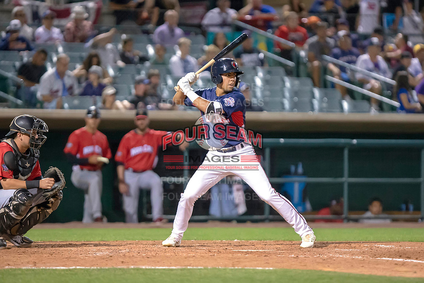 Alan Trejo (2) of the Lancaster JetHawks at bat against the North Division during the 2018 California League All-Star Game at The Hangar on June 19, 2018 in Lancaster, California. The North All-Stars defeated the South All-Stars 8-1.  (Donn Parris/Four Seam Images)