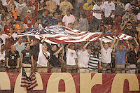 USA fans. The men's national teams of the United States and Argentina played to a 0-0 tie during an international friendly at Giants Stadium in East Rutherford, NJ, on June 8, 2008.