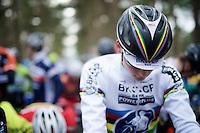 2015 CX World Champion Mathieu Van der Poel's (NLD/BKCP-Powerplus) first appearance in his elite rainbow jersey<br /> <br /> elite men's race<br /> Krawatencross <br /> bpost bank trofee 2015