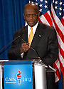 """AJ Alexander/AAP - 11-08-11, Herman Cain, GOP Candidate Defends Himself in a Press Confrence to dispute a sexual harassment allegations made by Sharon Bialek. He also accused the """"Democratic Machine"""" of manufacturing the controversy, at the Scottsdale Plaza Resort, in Scottsdale Arizona, on Tuesday afternoon, November 08, 2011..Photo by AJ Alexander"""