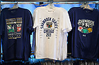 September 24, 2021; Shamrock Series 2021 t-shirts on display in the mobile bookstore in Chicago (Photo by Matt Cashore/University of Notre Dame)